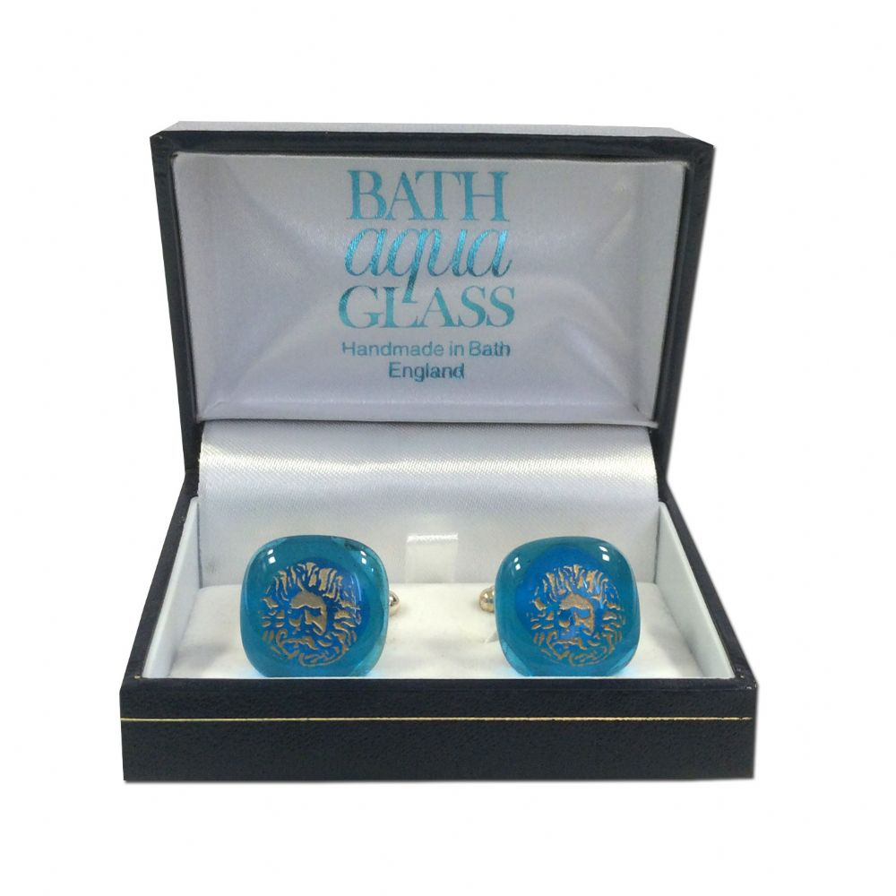 Glass Cufflinks - Blue